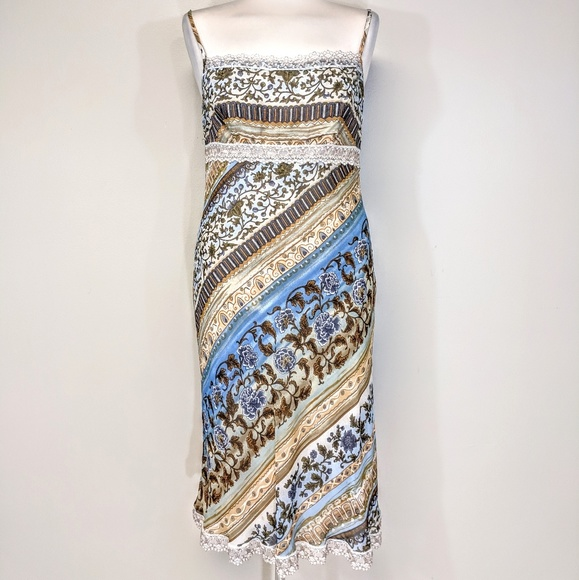 Vintage Dresses & Skirts - Bias Cut Lace Trim Midi Dress
